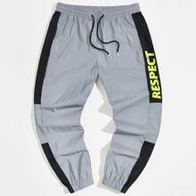 Guys Letter Graphic Contrast Sideseam Pants