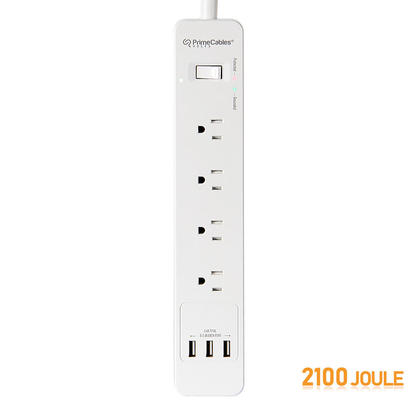 4 Outlet Type 3 Surge Protector Power Strip with 3 USB Ports, 2100 Joule, 1.5M Cord - PrimeCables®