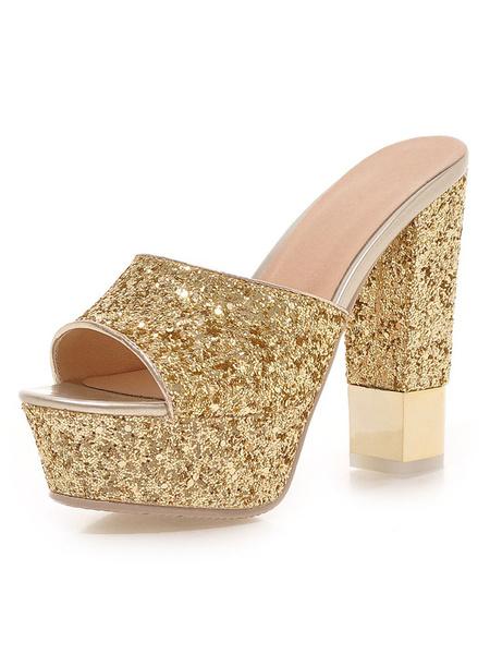 Milanoo High Heel Slippers Women Shoes Glitter Platform Open Toe Backless Sandal Slippers