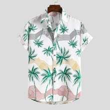 Men Striped & Palm Tree Print Shirt