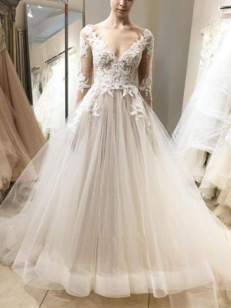 Ericdress Long Sleeves V-Neck Appliques Outdoor Wedding Dress