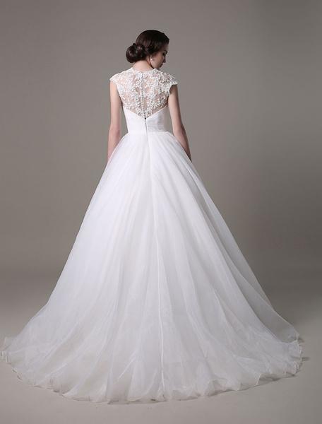 Milanoo 2020 Wedding Dresses Queen Anne Neckline Bridal Gown Organza Lace Rhinestones Beading Pleated Sash Train Bridal Dress
