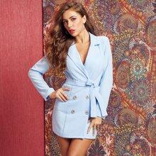 vestido blazer con cinturon cruzado con botones