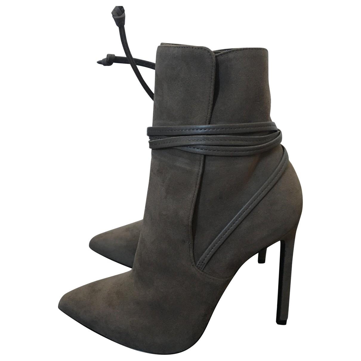 Saint Laurent - Boots   pour femme en suede - gris