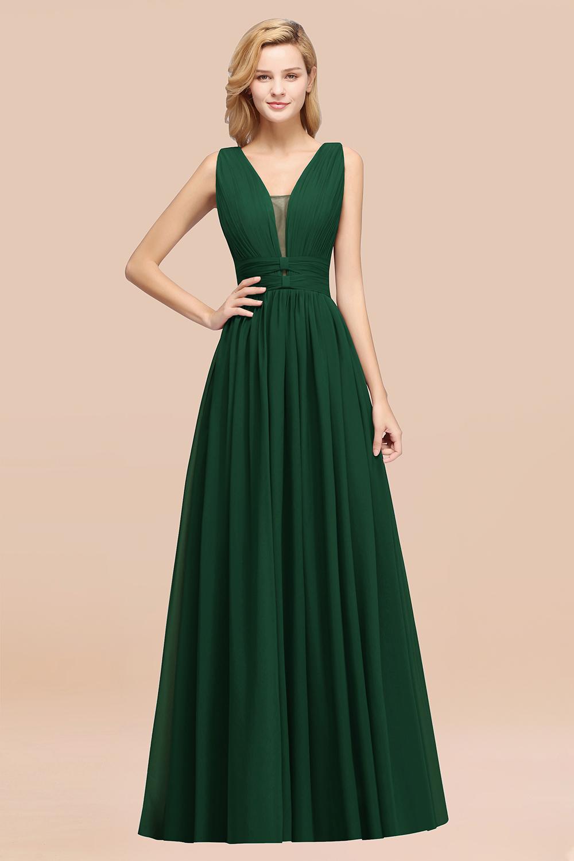 BMbridal Modest Dark Green Long Bridesmaid Dress Deep V-Neck Chiffon Maid of Honor Dress