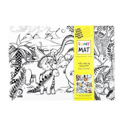 Funny Mat® Tapis à colorier, taille moyenne, lavable et réutilisable - jurassique
