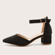Point Toe Mid Heeled Ankle Strap Suede Pumps