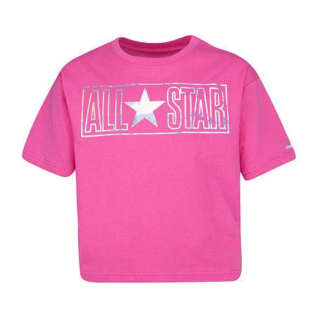 Converse Round Neck Short Sleeve Graphic T-Shirt Preschool / Big Kid Girls, Medium , Pink