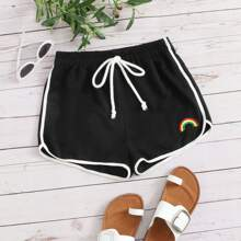 Plus Embroidered Detail Knotted Track Shorts