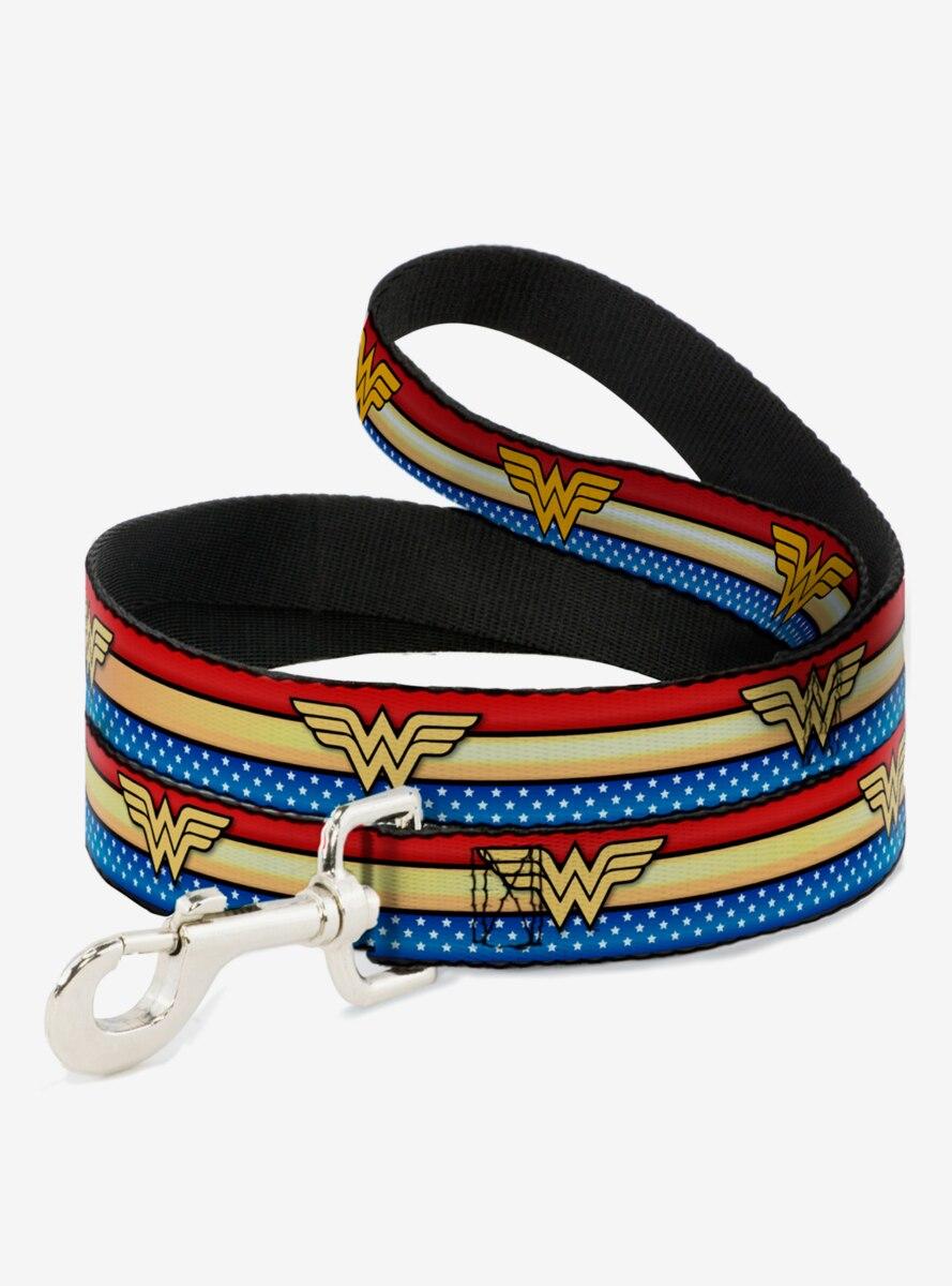 DC Comics Wonder Woman Logo Striped Stars Dog Leash