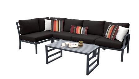Lexington LEXINGTON-06q-BLACK 6-Piece Aluminum Patio Set 06q with 1 Left Arm Chair  1  Corner Chair  3 Armless Chairs and 1 Coffee Table - Ash and