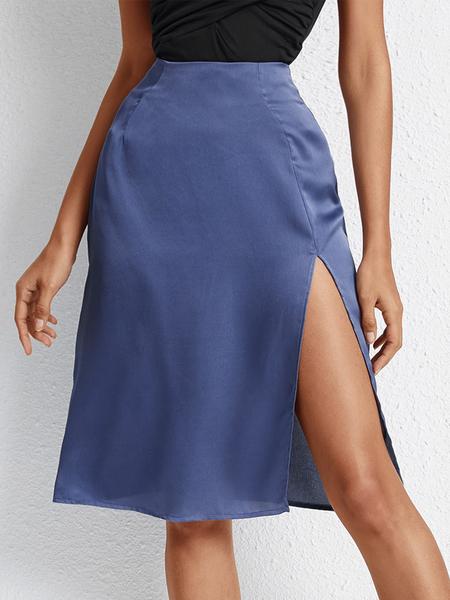YOINS Blue Slit Hem Satin Skirt