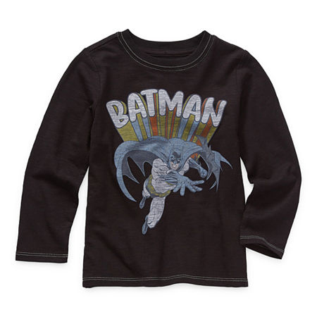 Okie Dokie Toddler Boys Crew Neck Batman Long Sleeve Graphic T-Shirt, 2t , Black