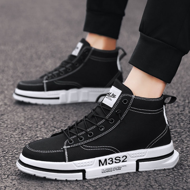Ericdress Lace-Up Patchwork High-Cut Upper Round Toe Men's Skate Shoes