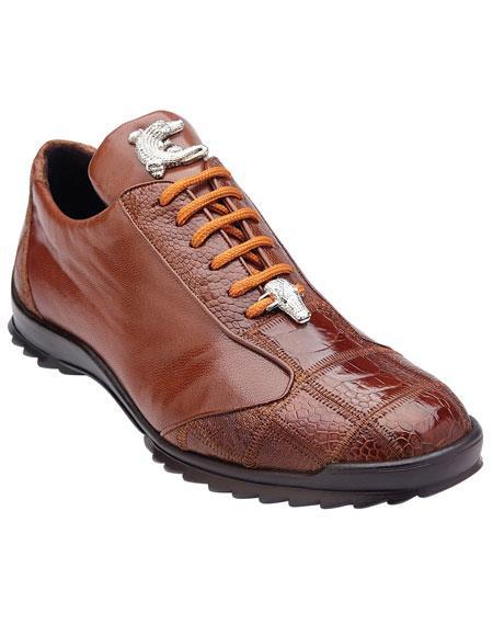 Men's Belvedere Paulo Honey Genuine Ostrich Casual Sneakers