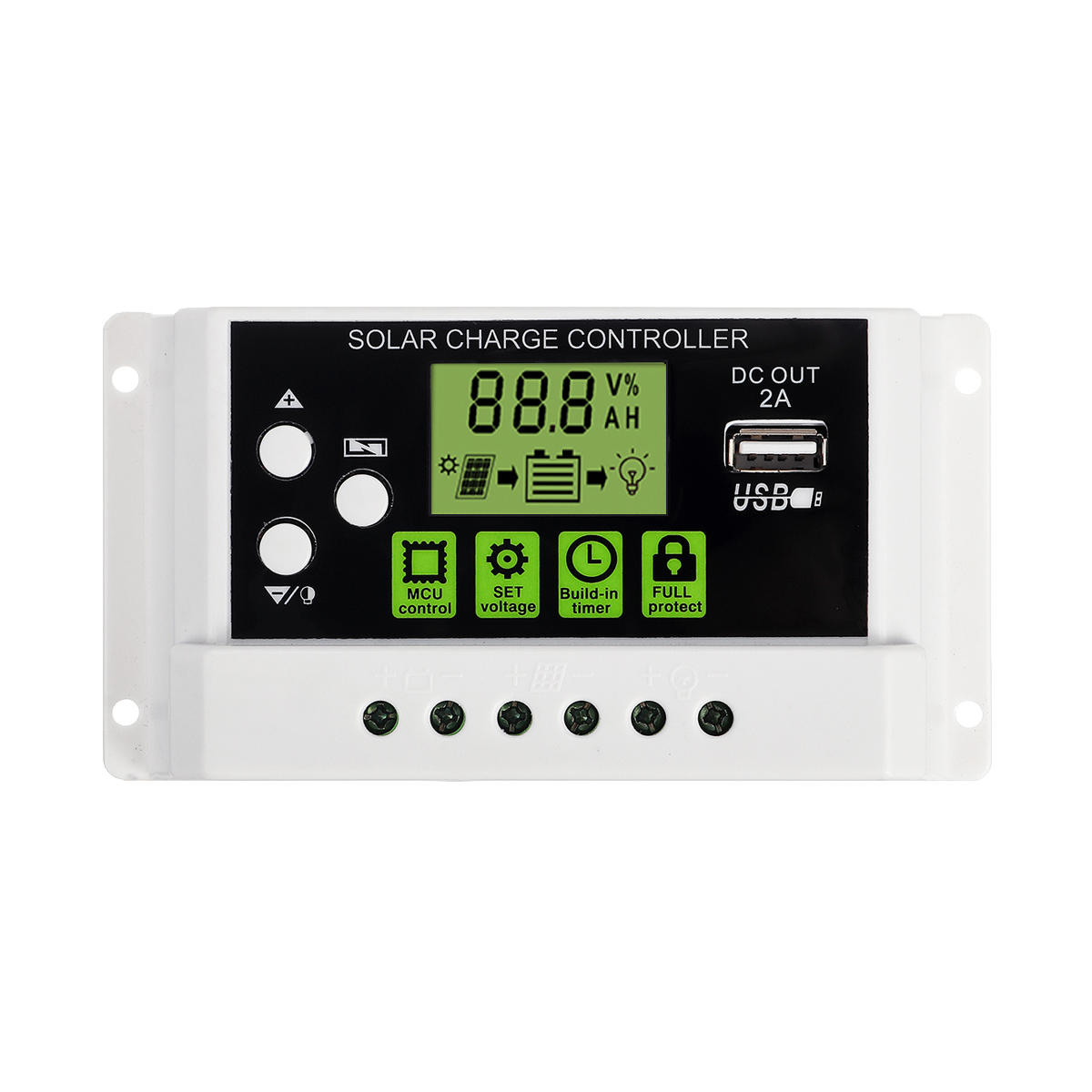 10A 12V/24V PWM Solar Panel Charge Controller Li-ion & Lead Acid Battery Charger USB LCD Display