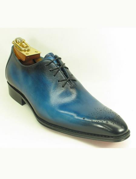 Men's Leather Ombre Lace Up Style Ocean Blue Fashionable Shoe