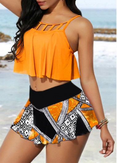 Women'S Orange Two Piece High Waisted Strappy Swimsuit Yellow Floral Printed Two Piece Padded Wire Free Cage Neck Bathing Suit By Rosewe - M