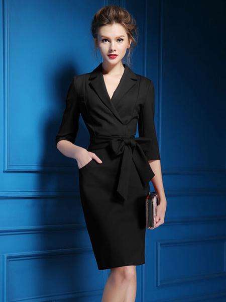 Milanoo Vestido de trabajo 2020 Vestido de poliester de media manga para mujeres en negro y rojo