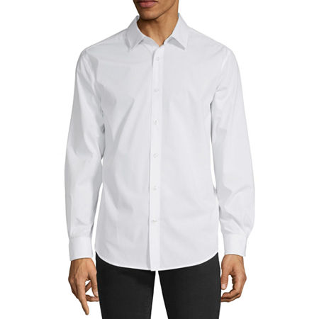 Axist Mens Long Sleeve Solid Button-Down Shirt, Xx-large , White