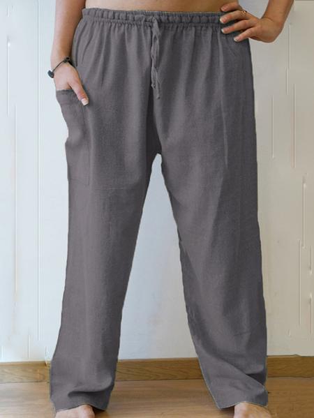 Yoins INCERUN Men Chinese Style Retro Drawstring Yoga Gym Loose Trousers Long Casual Pants