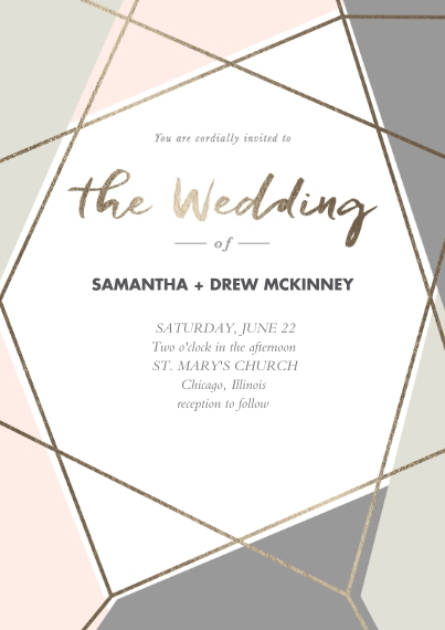 Wedding Invitations 5x7 Cards, Premium Cardstock 120lb with Elegant Corners, Card & Stationery -Cubism Couple Invitation