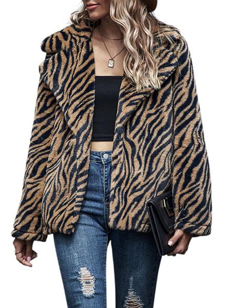 Milanoo Abrigos de piel sintetica para mujer Abrigo de invierno con cuello vuelto de manga larga con estampado de tigre