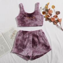 Letter Embroidery Tie Dye Flannel Pajama Set