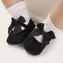 Baby Girl Bow Decor Flower Embroidered Flats