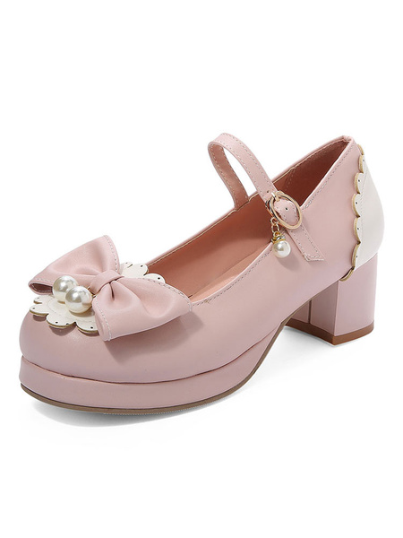 Milanoo Sweet Lolita Pump Pink Bows Pearl PU Leather Chunky Heel Lolita Shoes