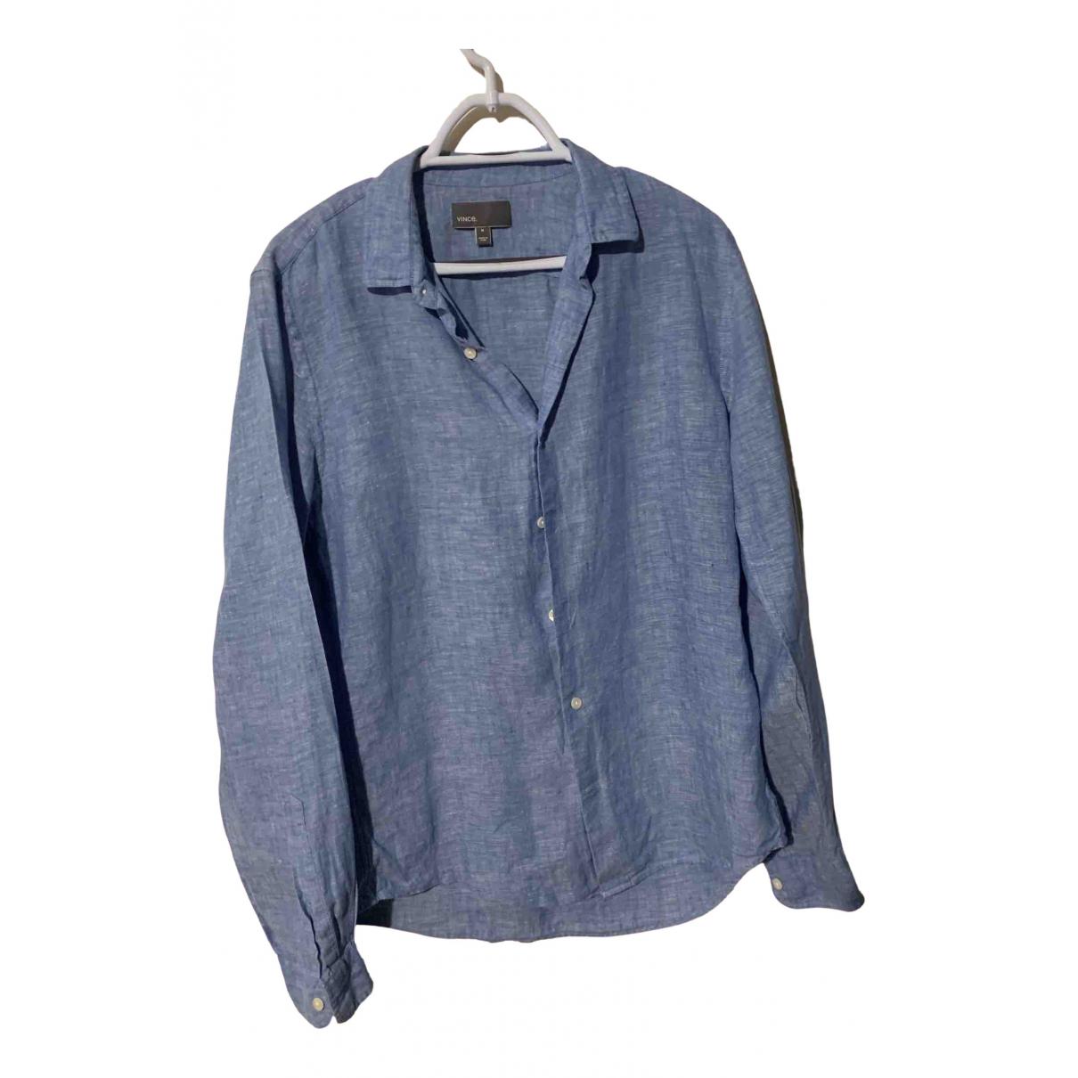 Vince \N Blue Linen Shirts for Men M International