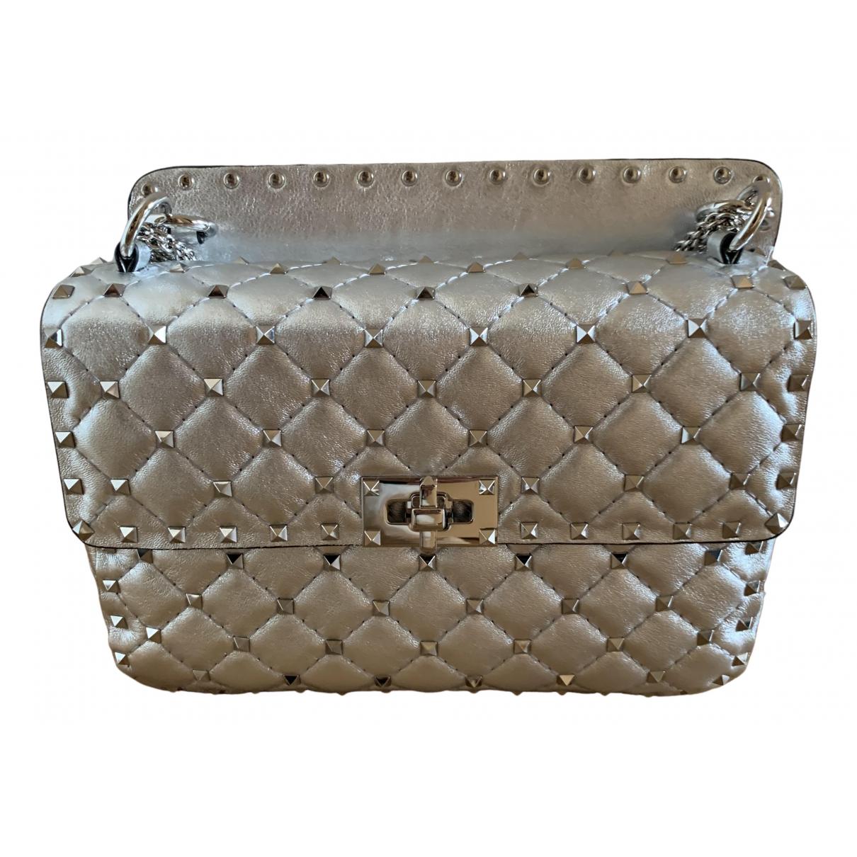 Valentino Garavani Rockstud spike Handtasche in  Silber Leder