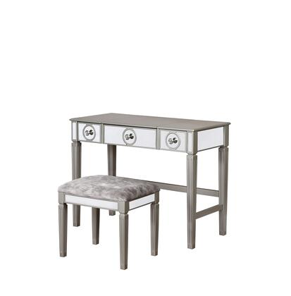VS054SIL01U Madison Collection Vanity Set with Mirrored Front Accents  Medium-Density Fiberboard (MDF) Polyester Upholstery in Silver
