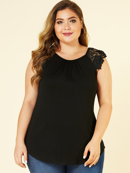 YOINS Plus Size Lace Round Neck Sleeveless Ruched Top