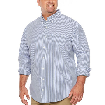IZOD Big and Tall Premium Essential Wovens Mens Long Sleeve Checked Button-Down Shirt, 4x-large Tall , Blue