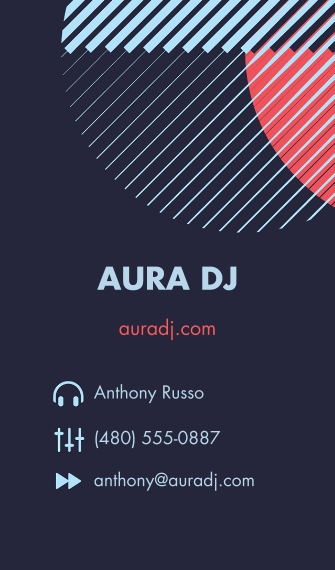 Arts & Media Business Cards, Set of 40, Rounded Corners, Card & Stationery -Aura DJ