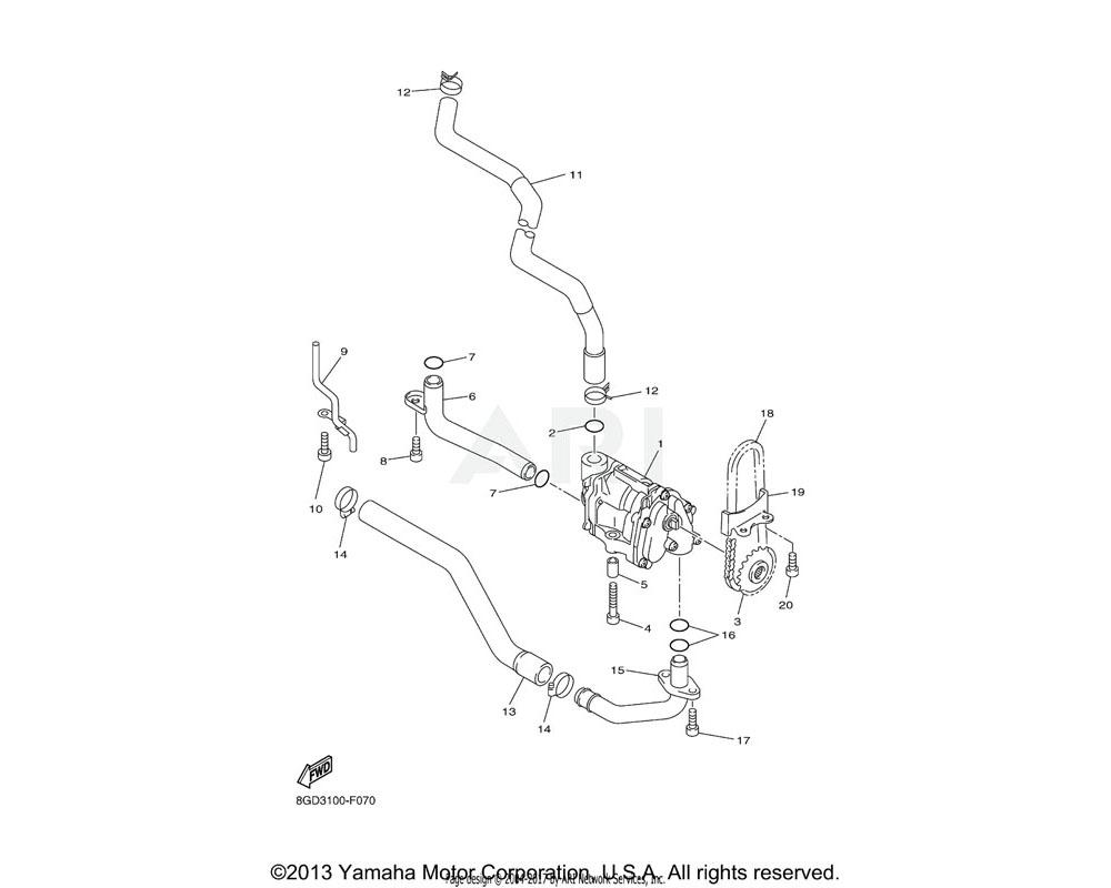 Yamaha OEM 8FA-13416-00-00 PIPE, OIL 1
