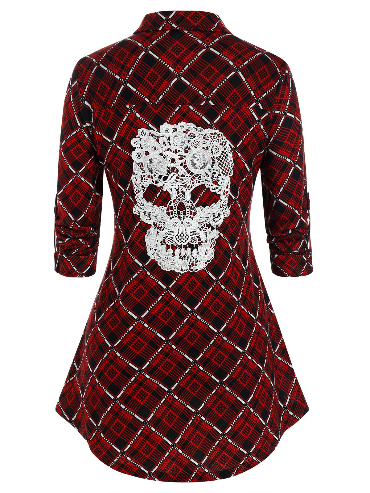 Plus Size Plaid Crochet Skull Button Up Curved Hem Shirt