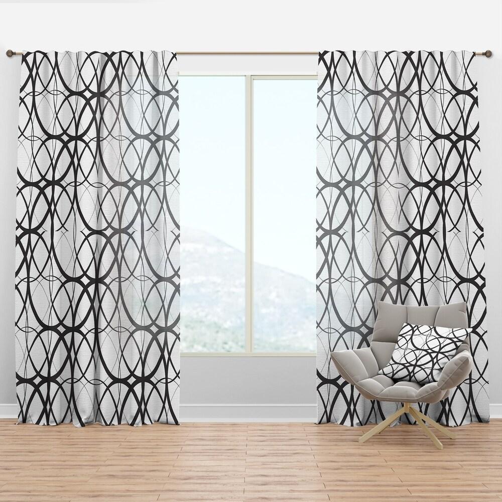 Designart 'Monochrome Geometric Pattern' Mid-Century Modern Curtain Panel (50 in. wide x 95 in. high - 1 Panel)