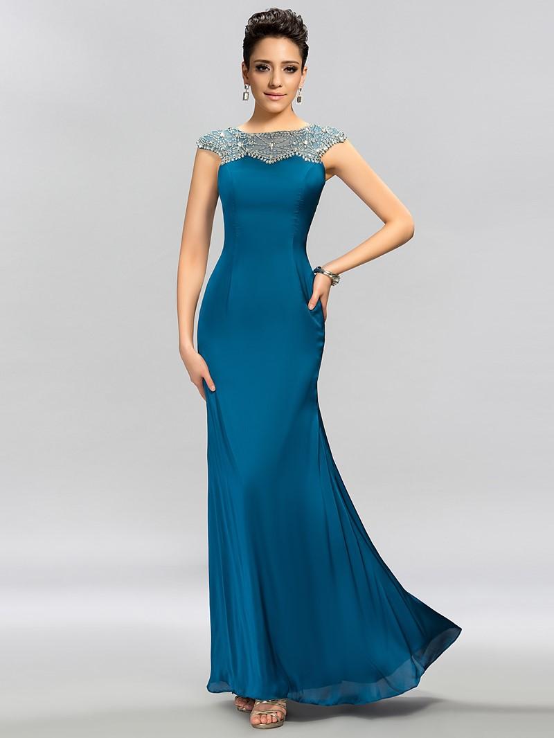 High-class Cap Sleeves Beaded Floor-Length Evening Dress