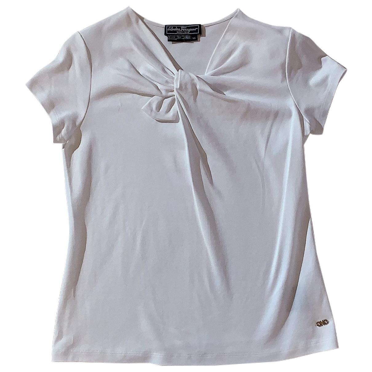 Salvatore Ferragamo - Top   pour femme en coton - blanc