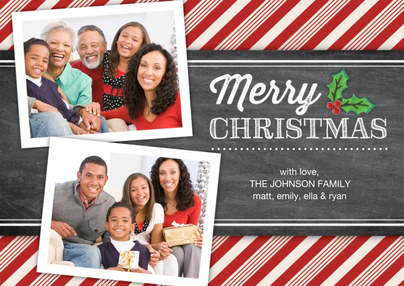 Christmas Photo Cards Flat Glossy Photo Paper Cards with Envelopes, 5x7, Card & Stationery -Christmas Candy Cane Stripes