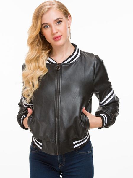 Milanoo Chaqueta negra de las mujeres chaqueta de cuero de la PU a rayas con cremallera completa