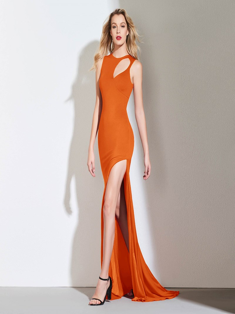 Ericdress Sheath Scoop Neck Split-Slit Red Evening Dress