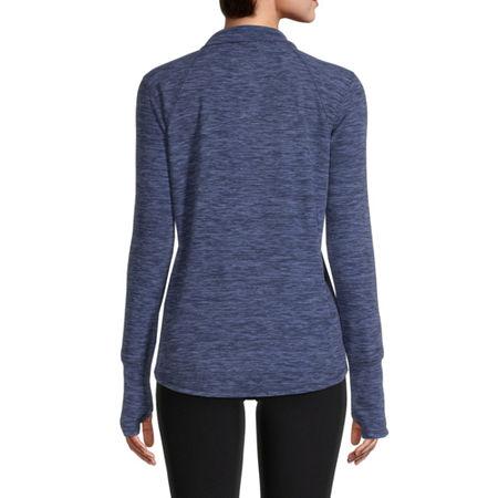 St. John's Bay Active Womens Mock Neck Long Sleeve Quarter-Zip Pullover, Large , Blue