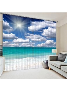 Beach with White Clouds and Sunlight Seaside Scenery 3D Printed Custom Living Room Curtain