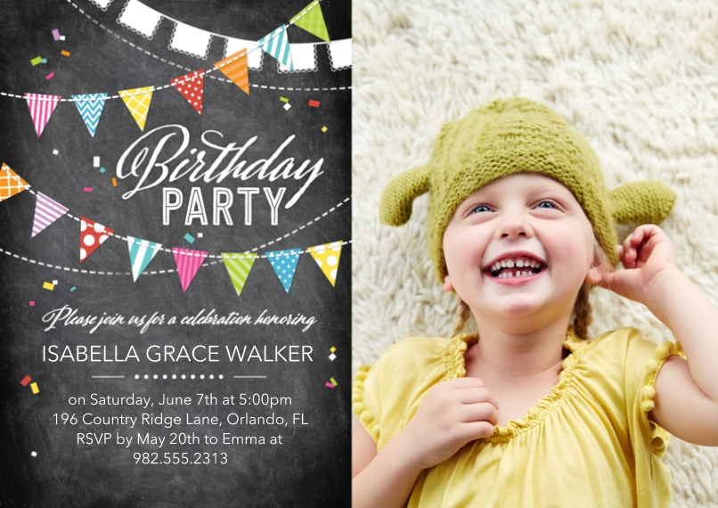 Birthday Party Invites 5x7 Cards, Premium Cardstock 120lb with Scalloped Corners, Card & Stationery -Birthday Party Flags