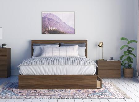 402511 Bombay 3 Piece Queen Size Bedroom Set with Storage Platform Bed + Headboard + Nightstand  in Walnut