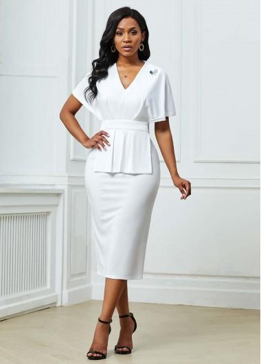 White Dresses V Neck Cape Sleeve Back Slit Dress - M