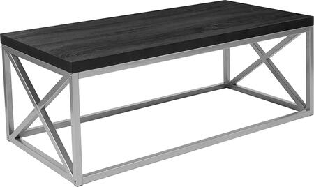 NAN-CT1796-BK-GG Park Ridge Black Coffee Table with Silver Finish